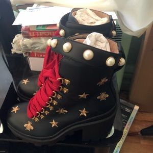 Gucci Shoes - Gucci Leather embroidered boot excellentcondition